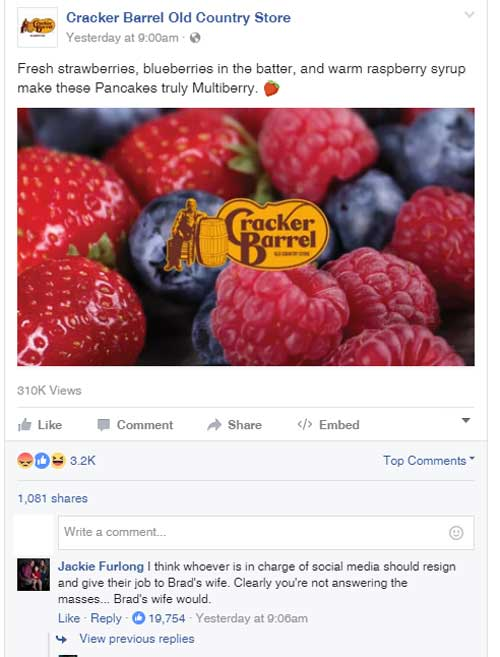 cracker barrel facebook funny