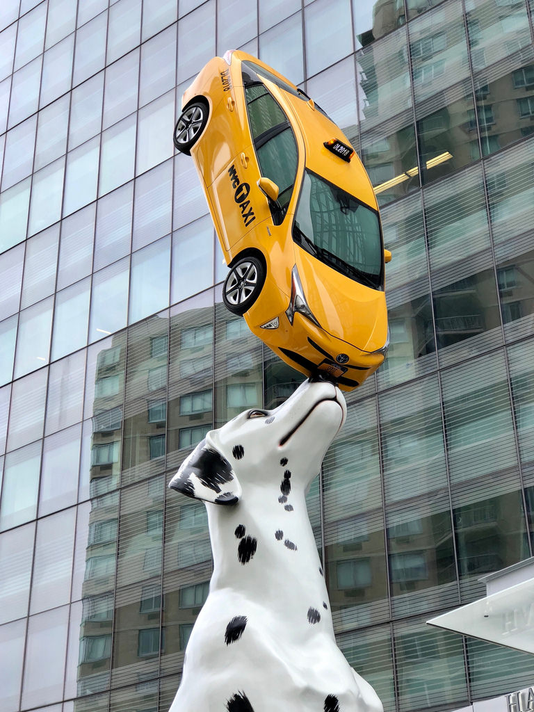 30′ Dalmatian Named Spot! Balances a Yellow NYC Taxi on Its