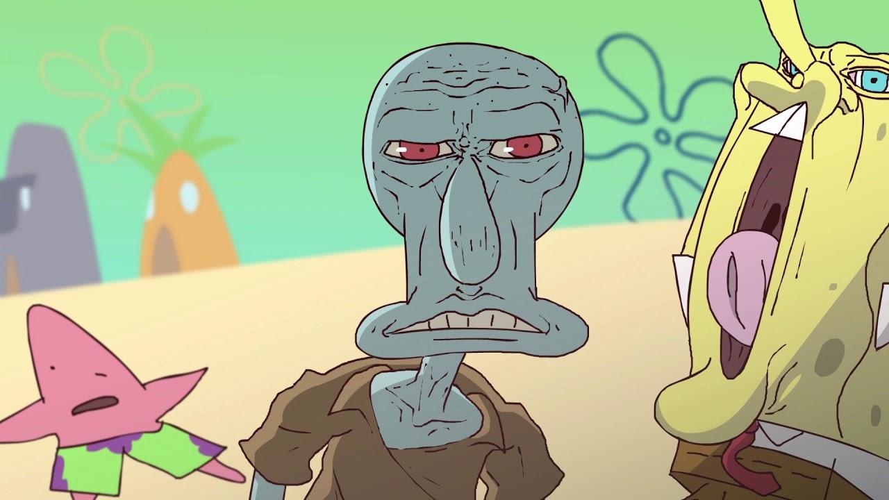a dark anime style intro for the spongebob squarepants tv series