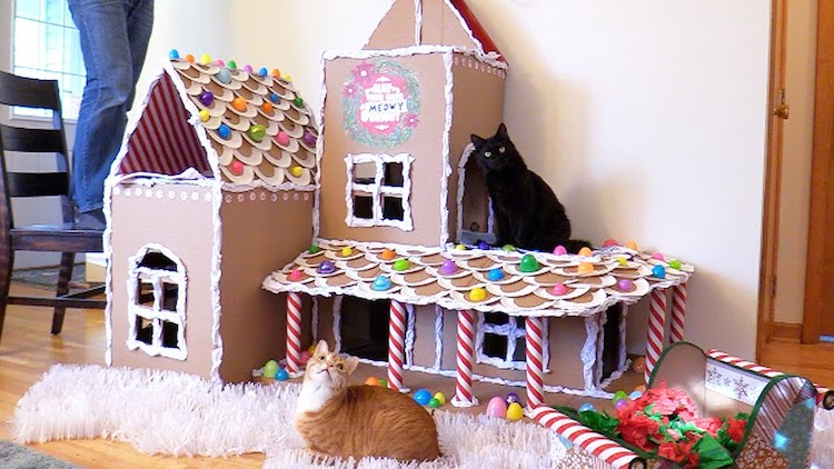 Cardboard Gingerbread House For Cats
