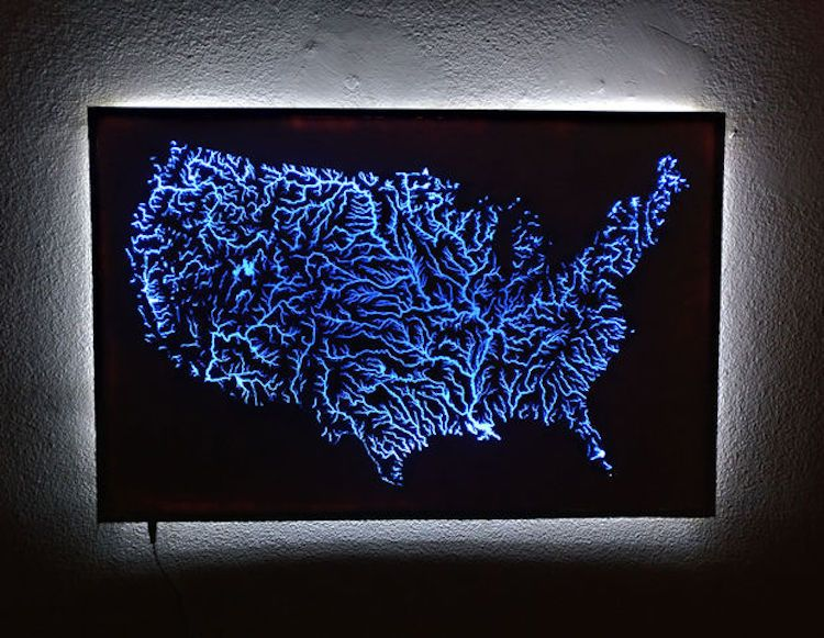 A Stunning Handcrafted Laser Cut Map of the United States ... on
