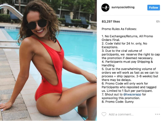screen shot 2017 05 04 at 9 49 44 am This Company Promised People Free Swimsuits On Instagram And Its Hilariously Backfiring