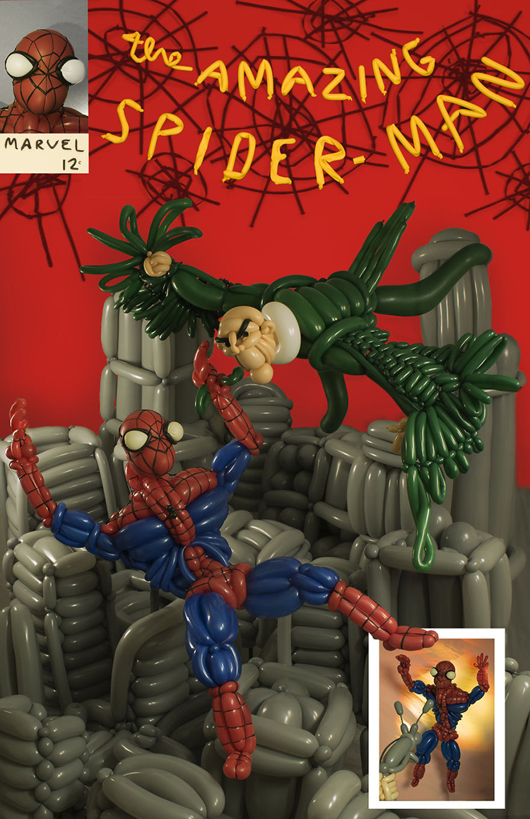 Comic Book Covers Recreated Using Balloons